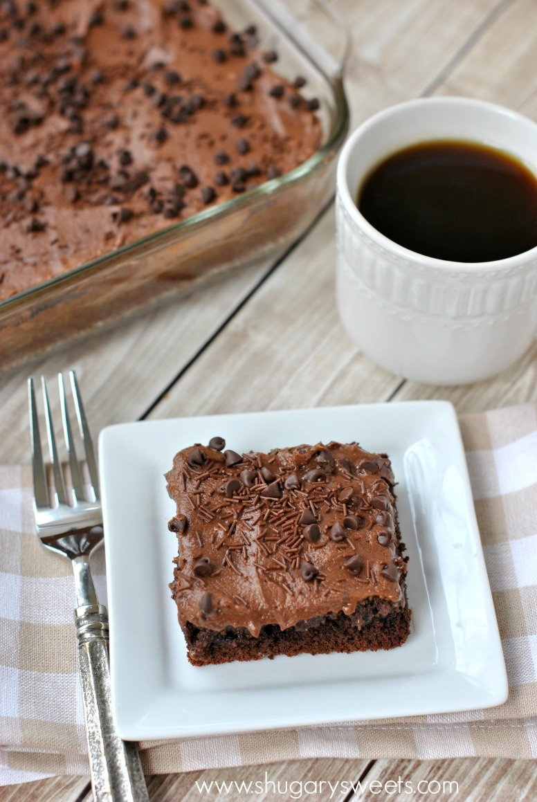 Gooey frosted Chocolate Cake Bars: made with a mix, these bars are ...