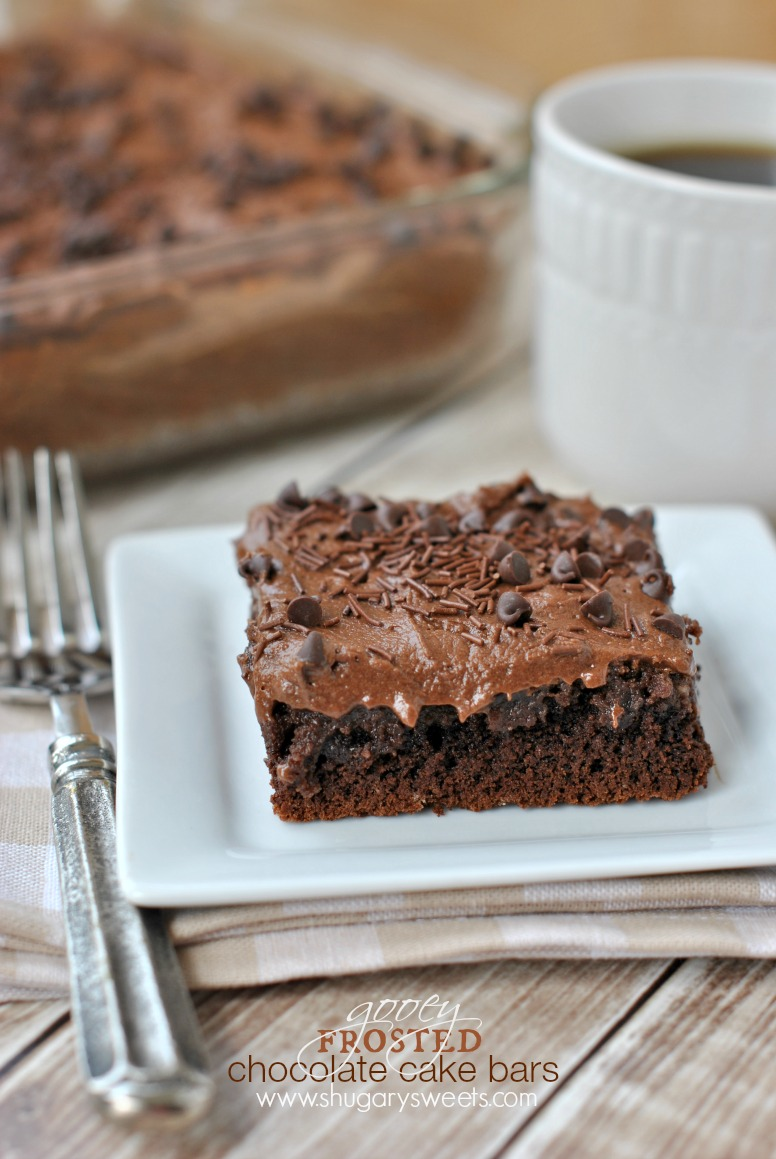 Frosted Gooey Chocolate Cake Bars Shugary Sweets