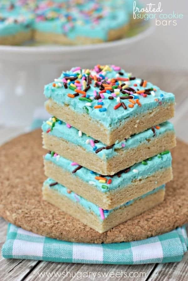 Frosted Sugar Cookie Bars: chewy sugar cookies topped with a creamy buttercream frosting!