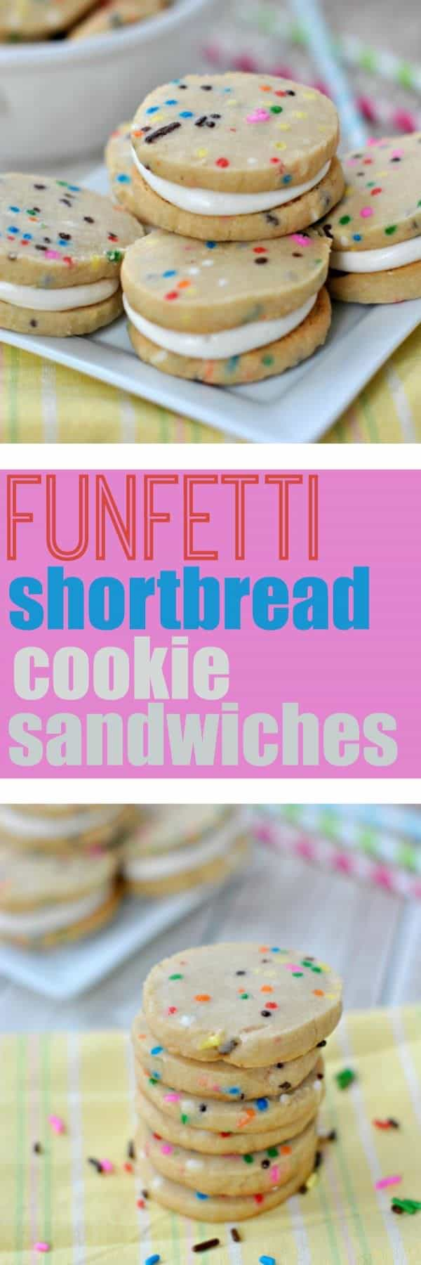 I'm pretty sure it's a well known fact that sprinkles make everything taste better. These Funfetti Shortbread Cookie Sandwiches are no exception to that rule! Filled with sprinkles, these are sure to go fast!
