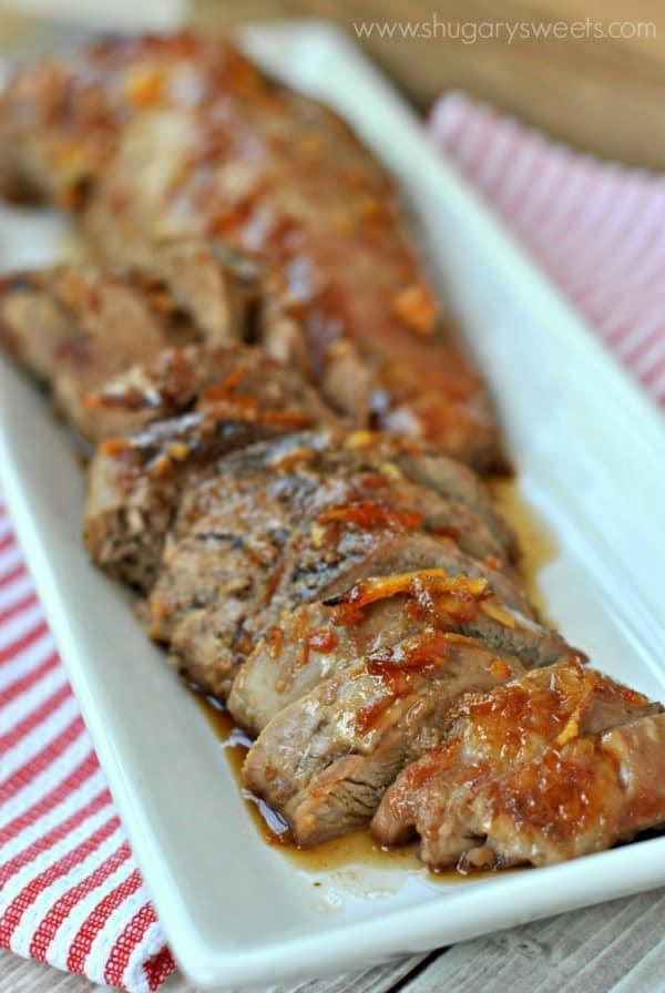 Honey Orange Glazed Pork Tenderloins: delicious, juicy pork tenderloin for dinner with only 5 minute prep!