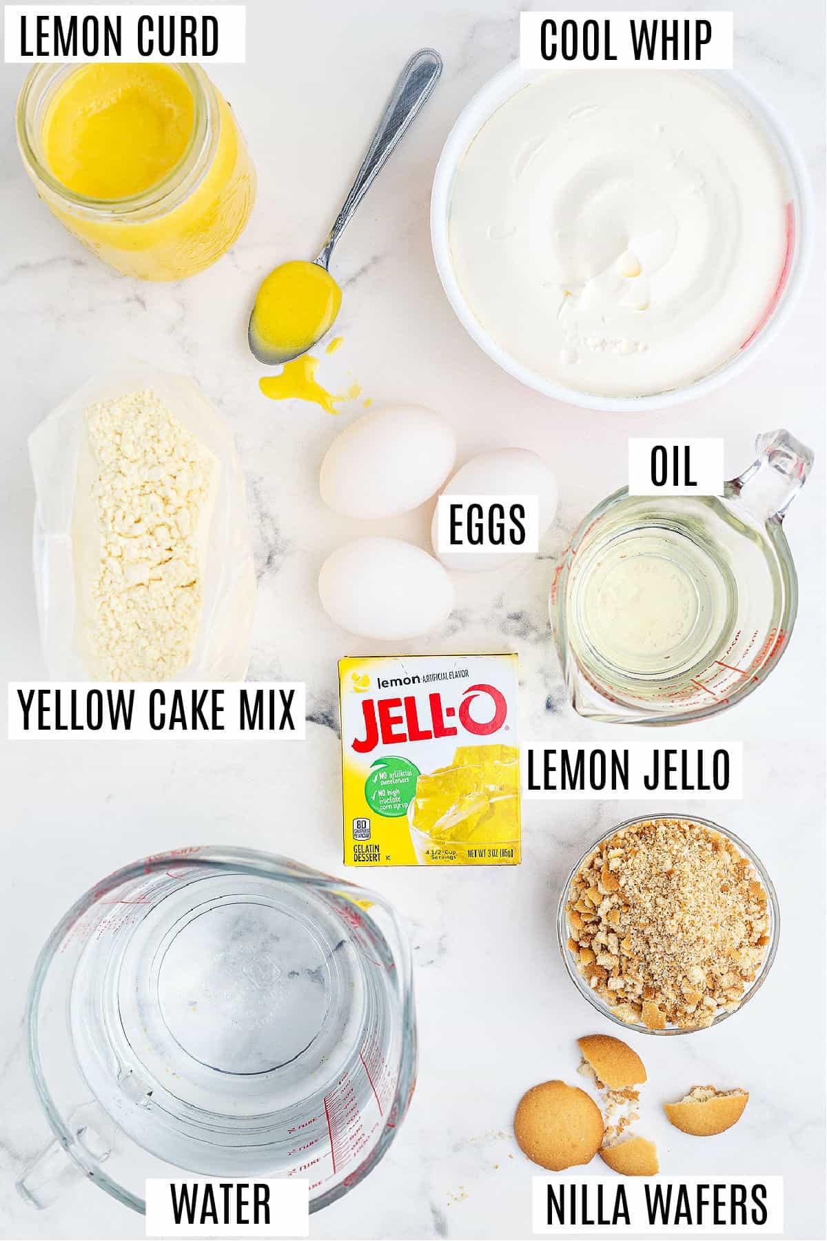 Ingredients needed to make a lemon jello poke cake recipe.