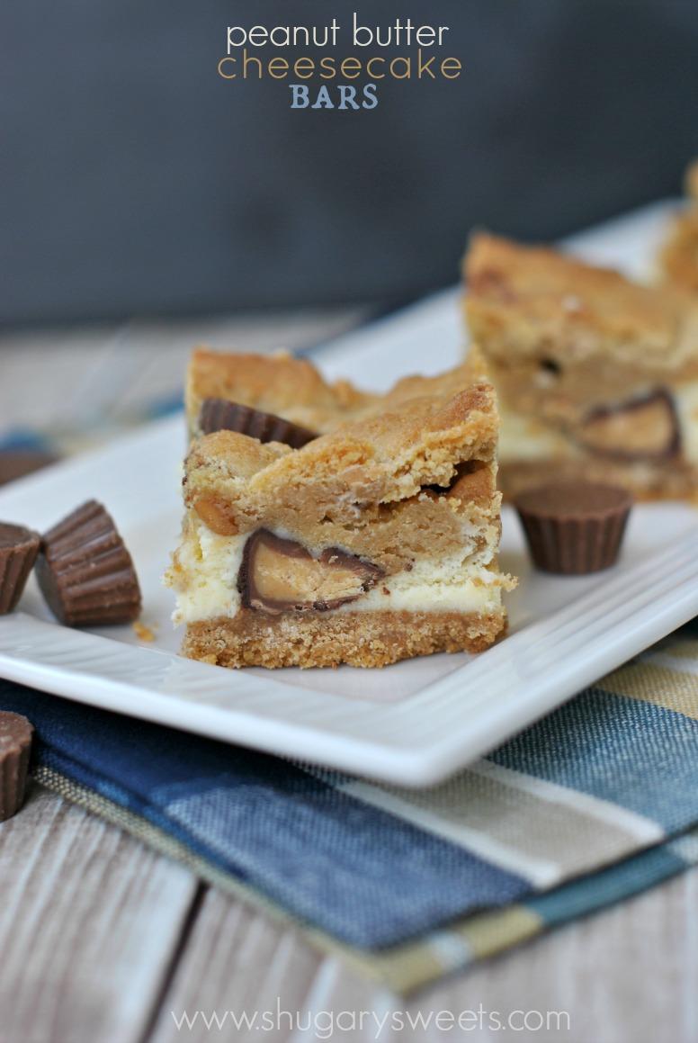Peanut Butter Cup Cheesecake Bars Recipe — Dishmaps