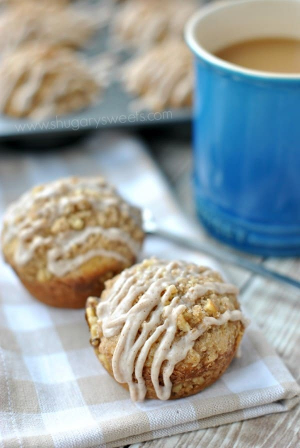 Cinnamon Glazed Banana Streusel Muffins: easy, delicious breakfast treat!