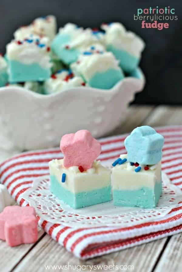 Patriotic Berrylicious Fudge recipe is perfect for your holiday dessert table. Or enjoy for a unique baby shower treat!