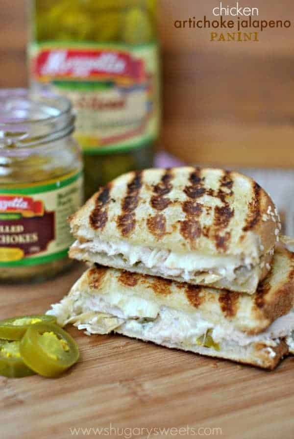 Chicken Artichoke Panini: my favorite sandwich based off my favorite snack, artichoke jalapeno dip!