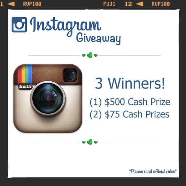 Instagram giveaway with 3 winners!