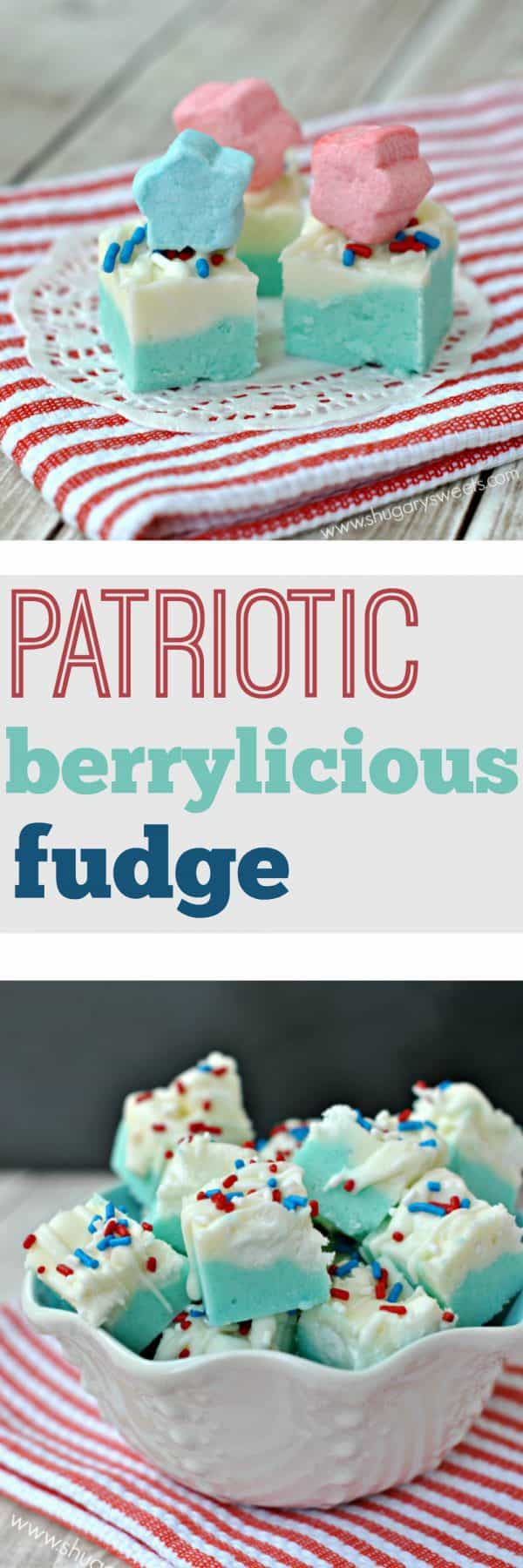 Delicious fudge all decked out for the holiday! Patriotic Berrylicious Fudge needs to be at your 4th of July party!