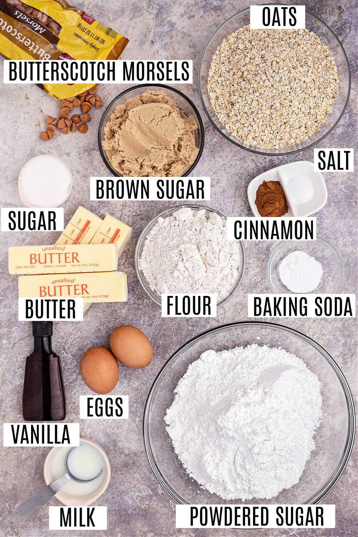 Ingredients needed for oatmeal butterscotch cookie bars.