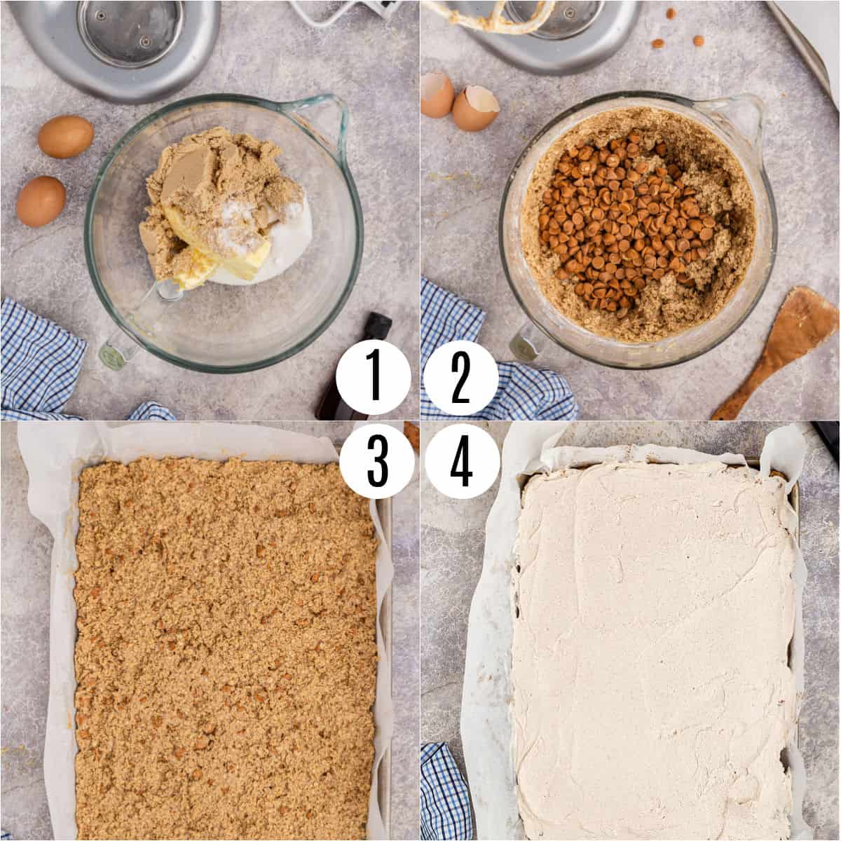 Step by step photos showing how to make oatmeal scotchie cookie bars.