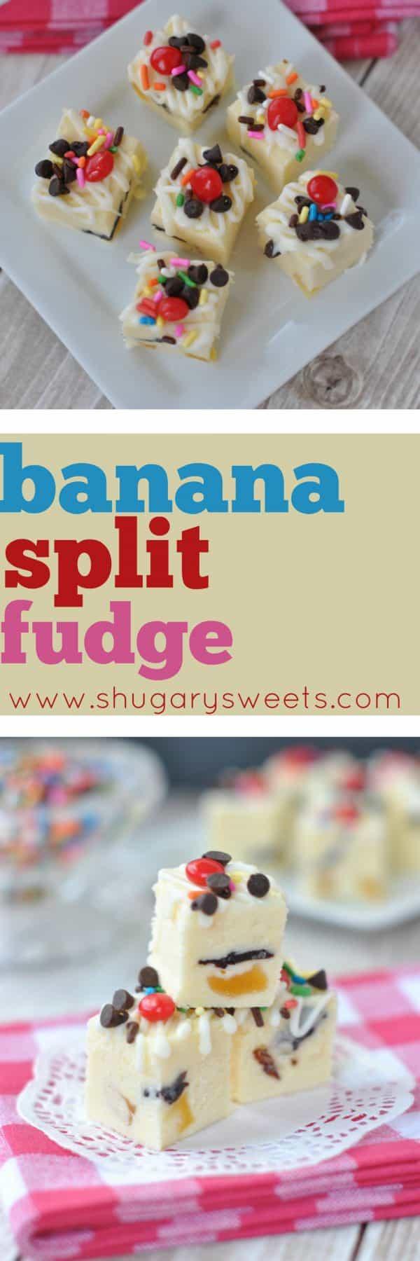 Sweet Banana Split Fudge recipe. The perfect summer treat!