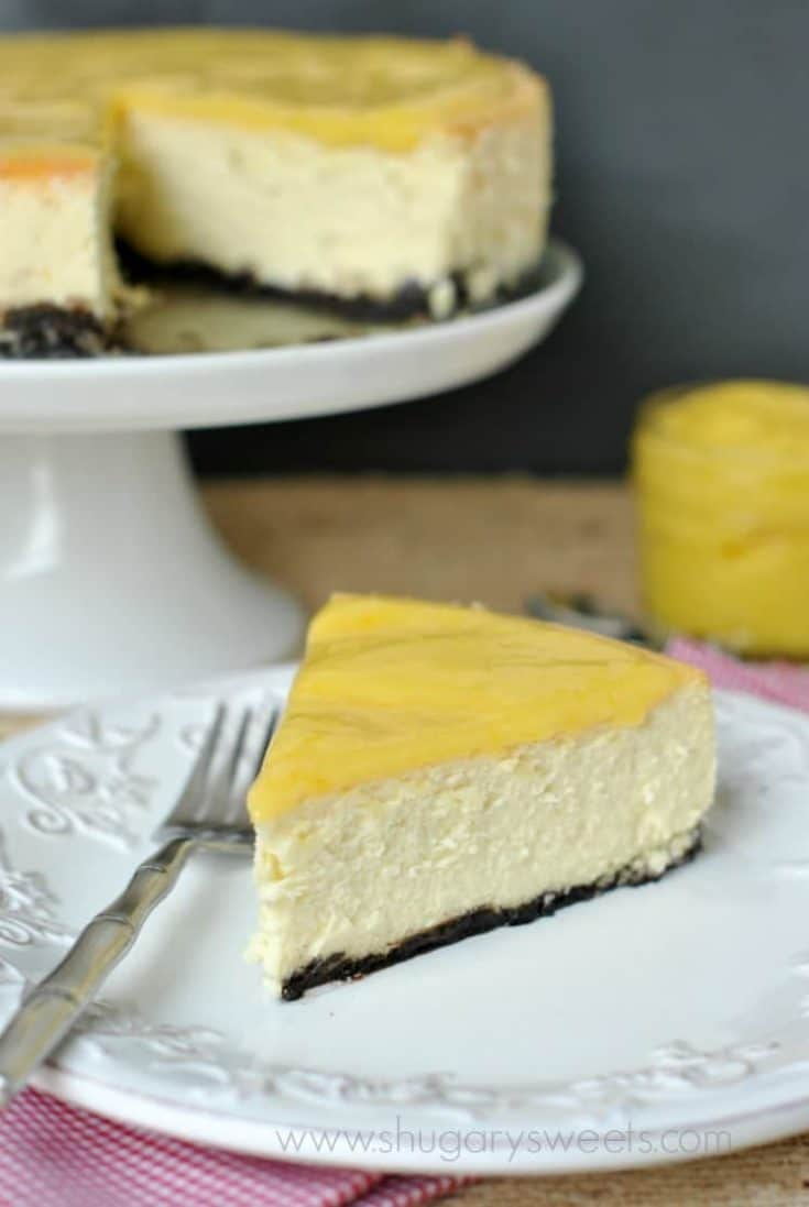 Creamy, delicious Lemon Cheesecake has the perfect consistency and is topped with a homemade Lemon curd!
