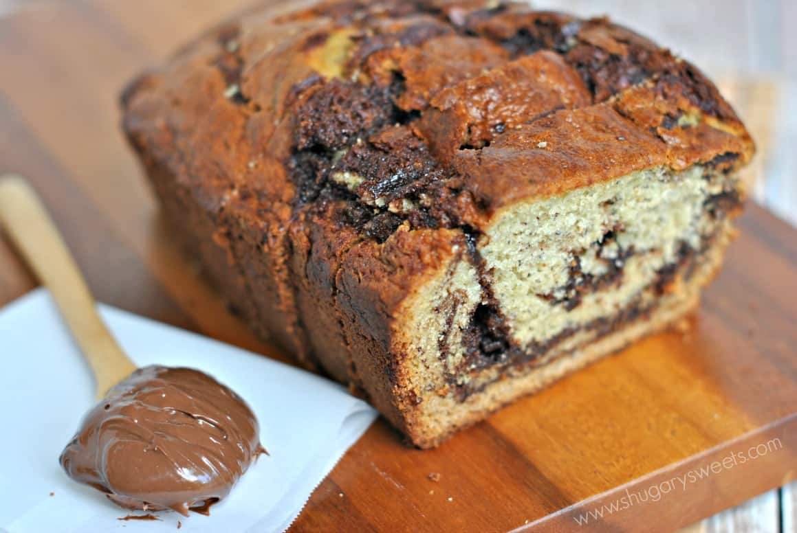 Bread: super moist banana bread with thick swirls of Nutella baked ...
