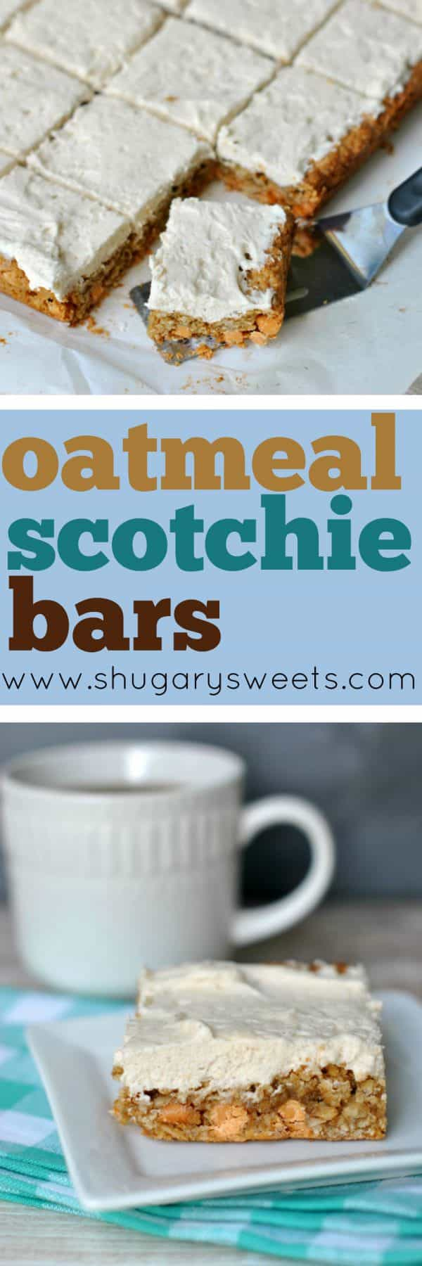 Soft and chewy, these classic Oatmeal Scotchie Bars are divine! I topped them with a sweet Cinnamon frosting for a little extra indulgence!