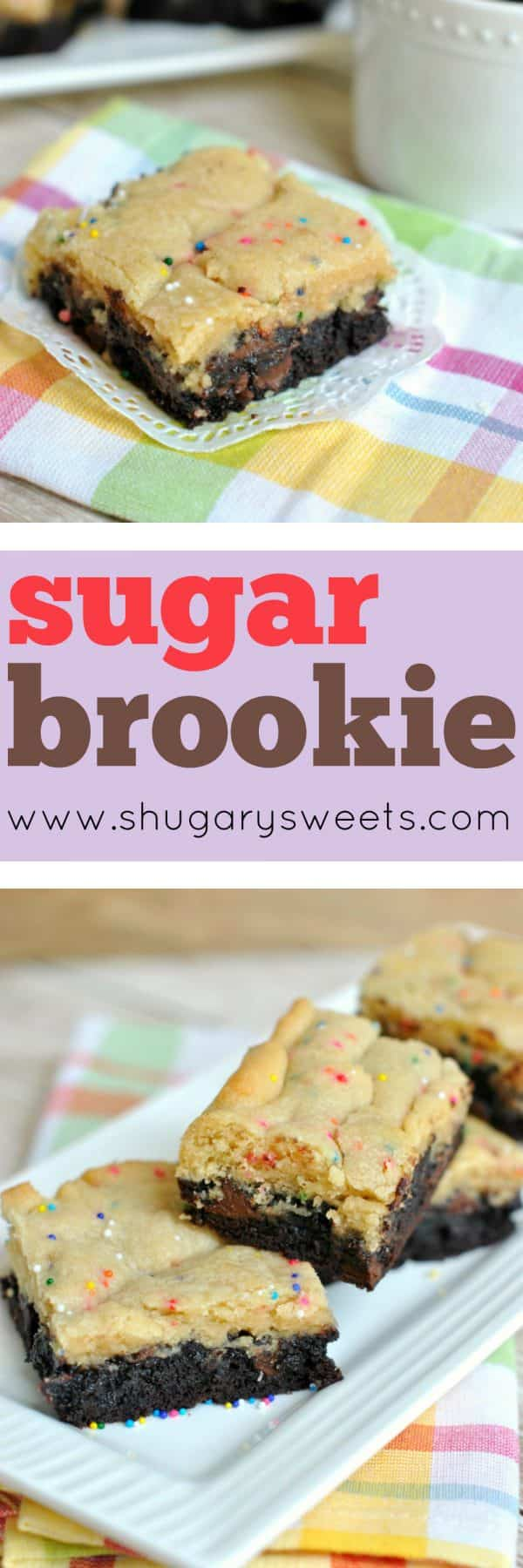 Soft, chewy Sugar Brookies are a delicious combo of Sugar Cookies and Brownies. Make a pan for dessert today!