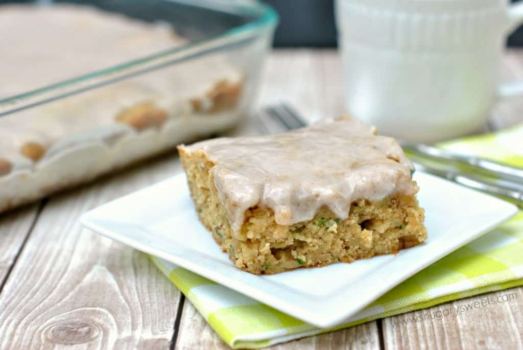 Zucchini Banana Cake Bars with a creamy, sweet Cinnamon glaze! Great use for those garden fresh zucchini!