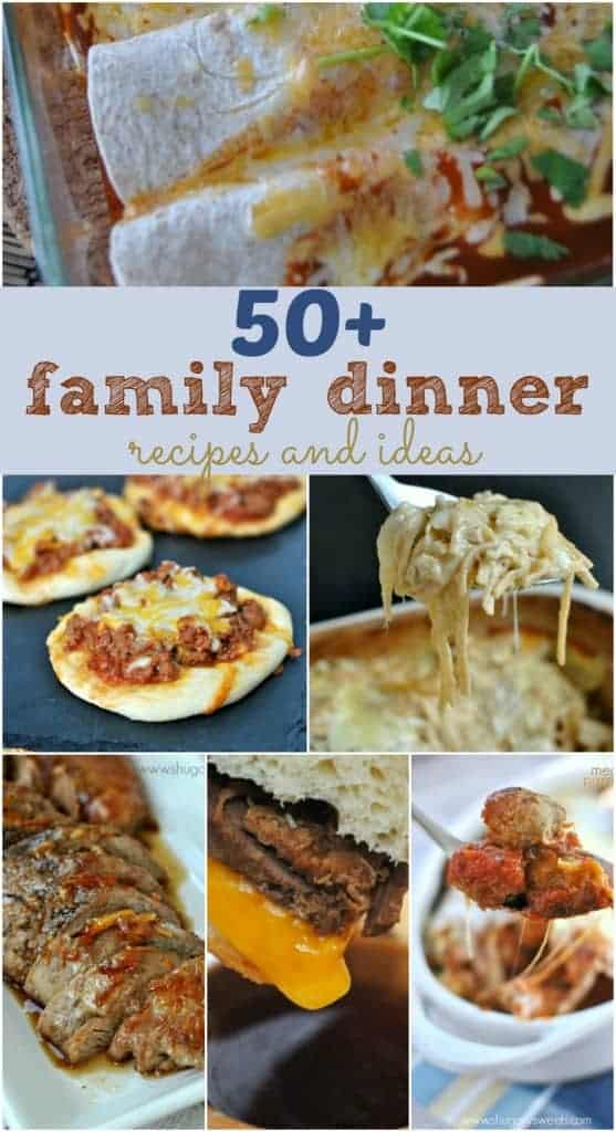 50+ Family Dinner recipes and ideas! Plan your weekly menu tonight with this list of mouthwatering meals!