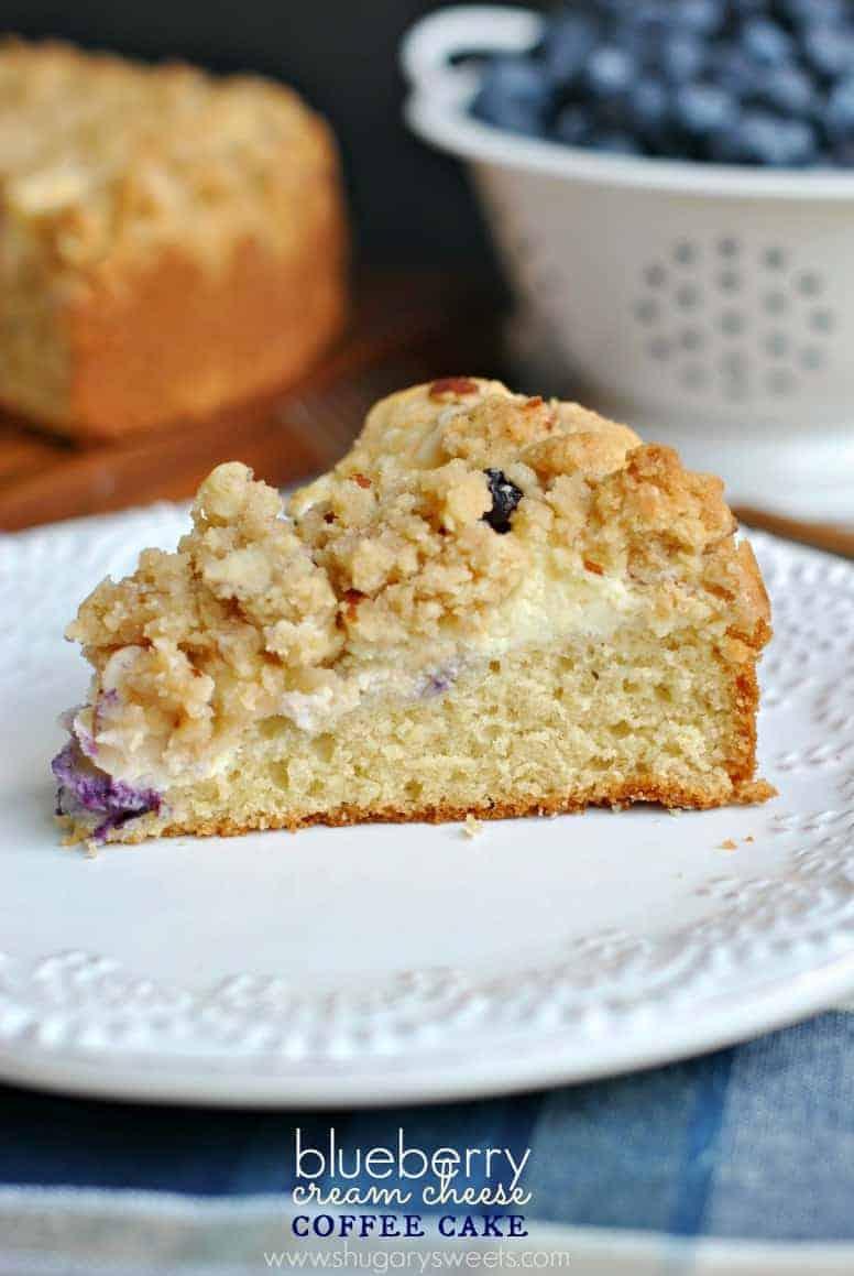 Blueberry Cream Cheese Coffee Cake - Shugary Sweets