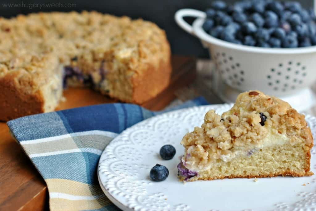 Delicious almond Coffee cake with a ribbon of cream cheese and fresh blueberries! #breakfast