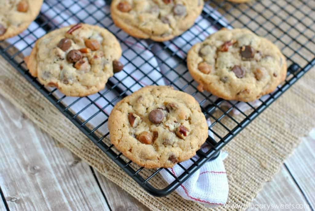 My favorite recipe for Chocolate Chip Cookies. I added in some caramel bits and chopped pecans for a decadent, chewy delight!