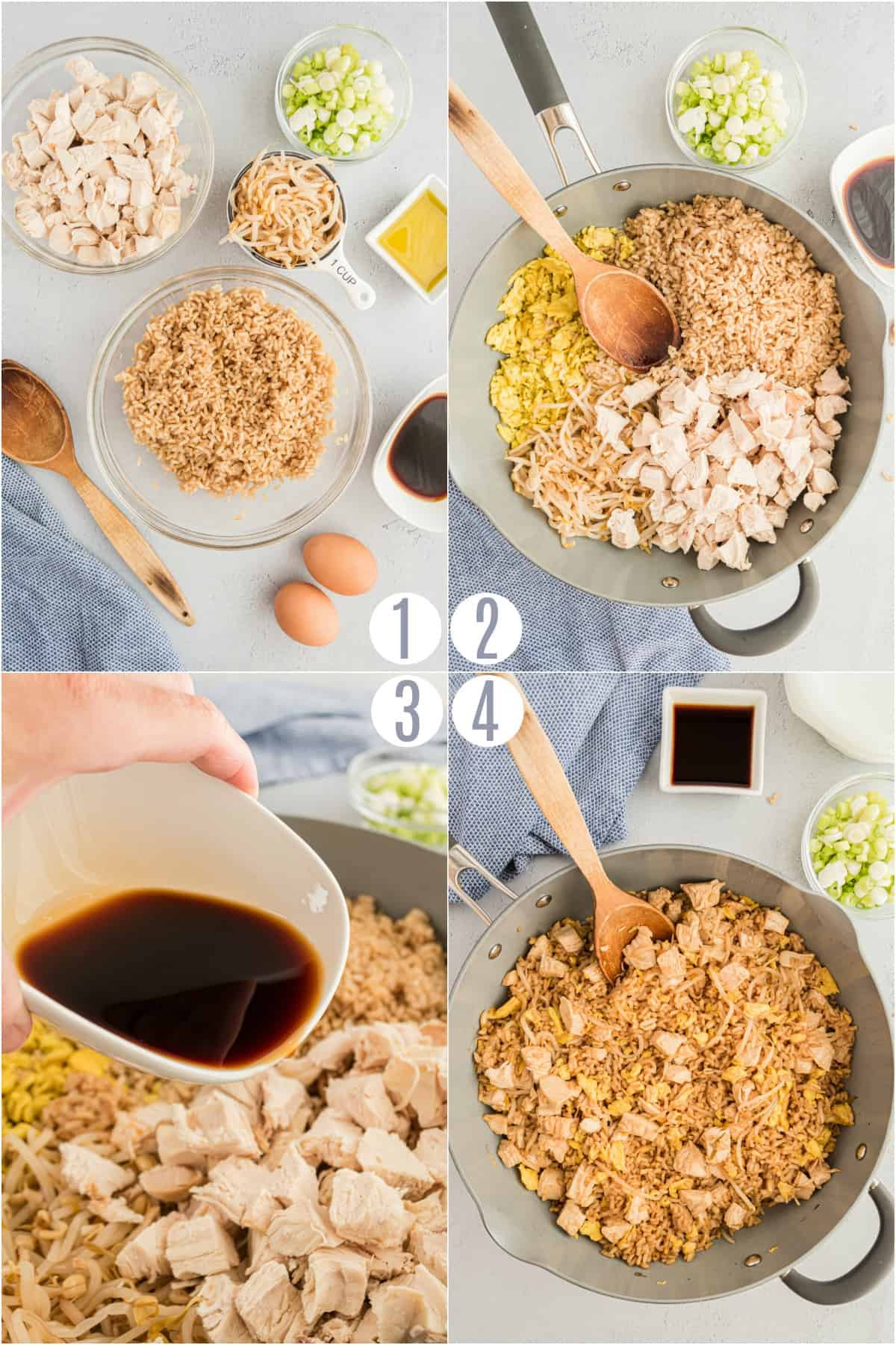 Step by step photos showing how to make chicken fried rice in a skillet.