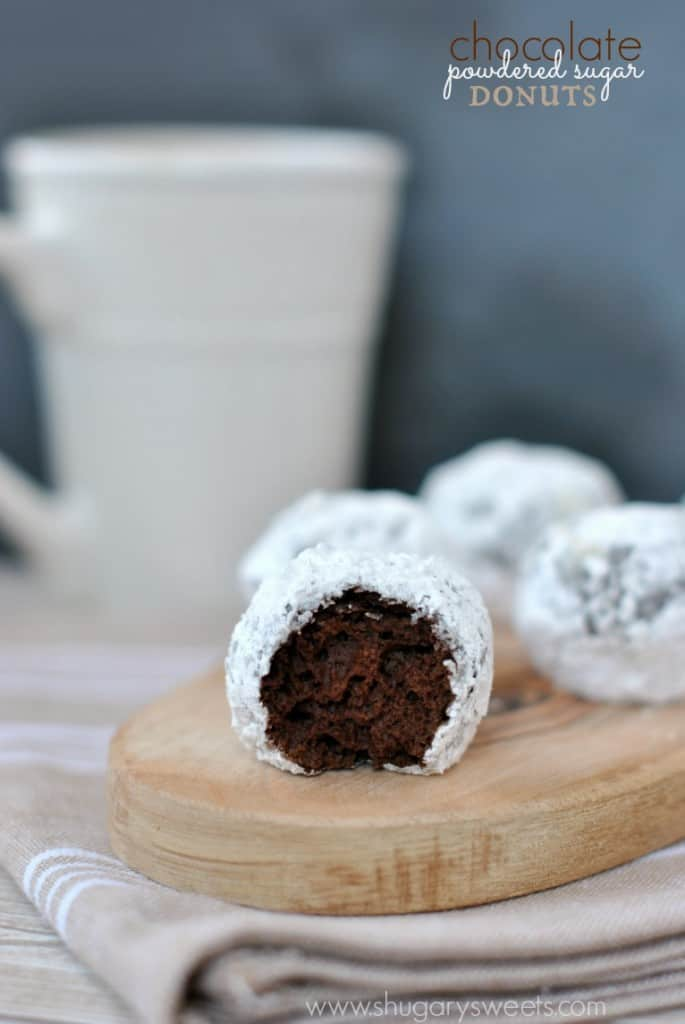 Chocolate Powdered Sugar Donut Holes: baked and ready in under 30 minutes!