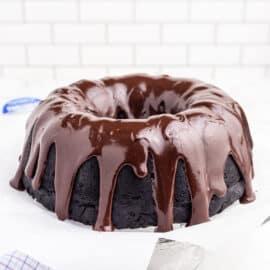 Chocolate bundt cake with chocolate ganache.