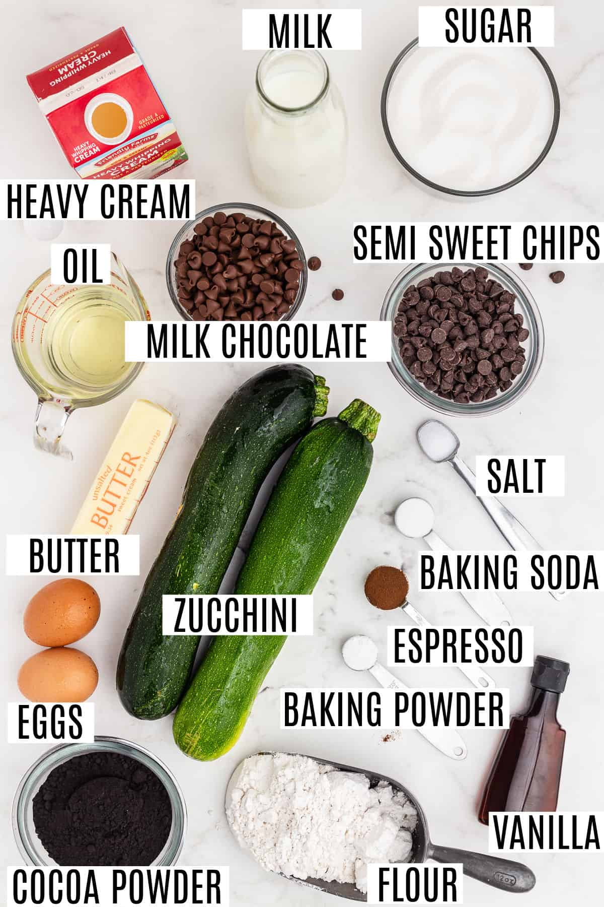 Ingredients needed for dark chocolate zucchini bundt cake recipe.