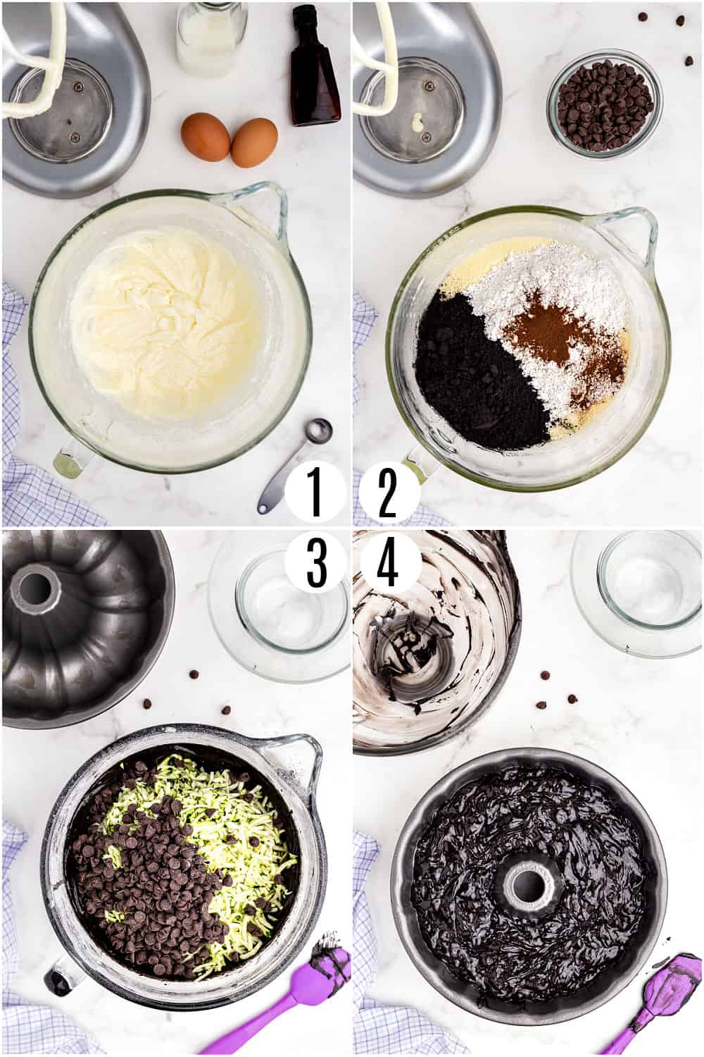 Step by step photos showing how to make chocolate cake witth zucchini.