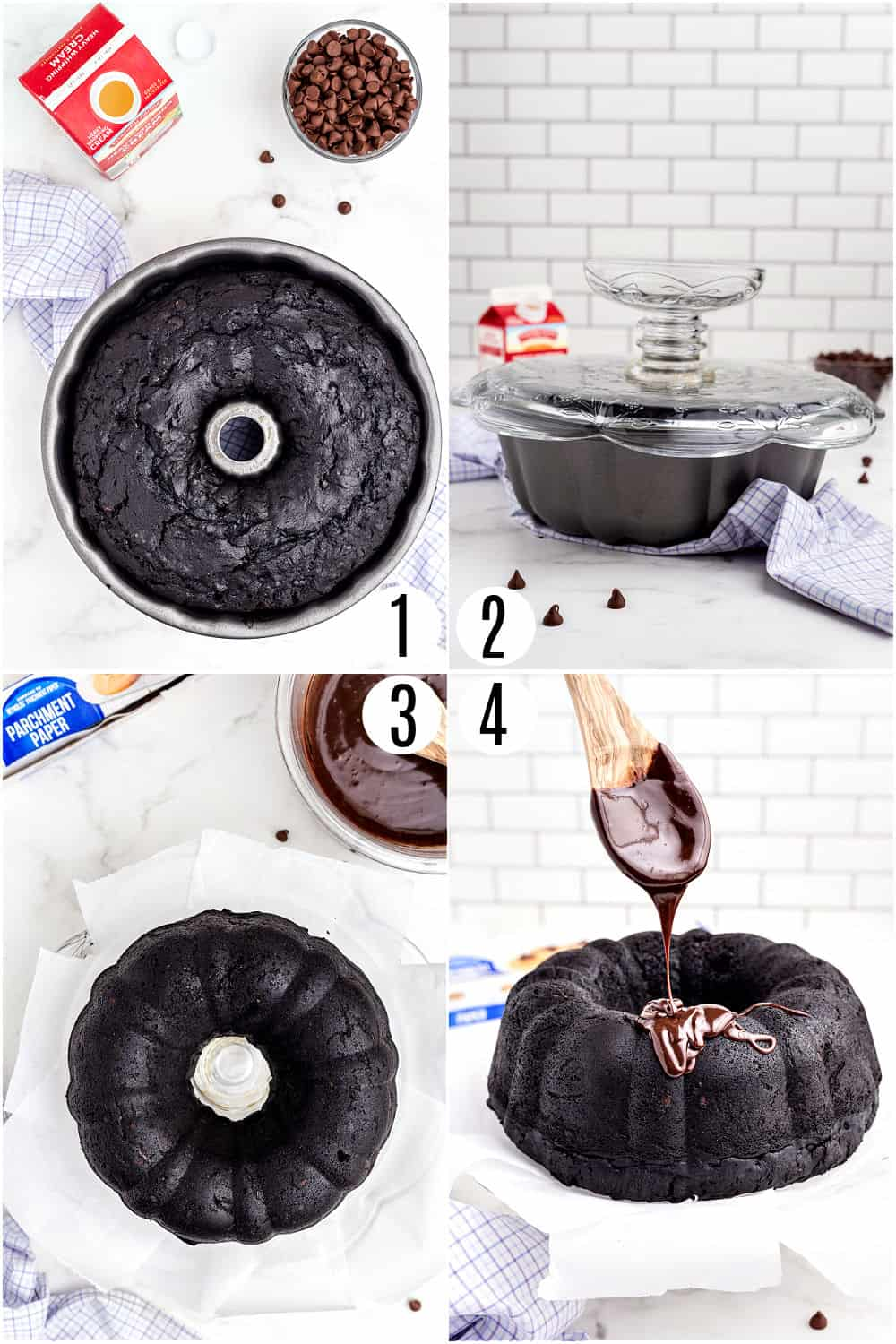 Step by step photos showing how to garnish a chocolate bundt cake with ganache.