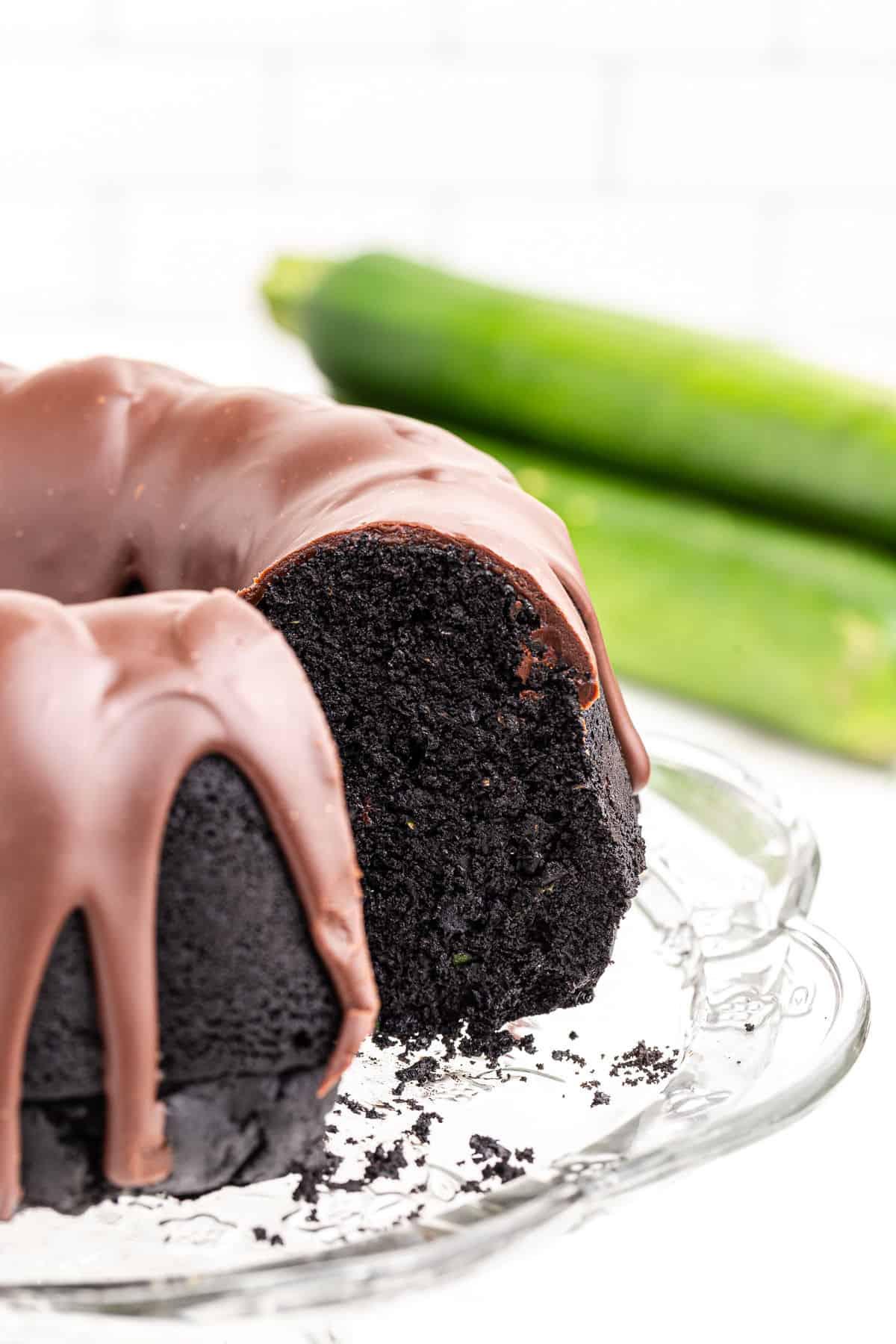 Chocolate bundt cake with zuchini and chocolate ganache.