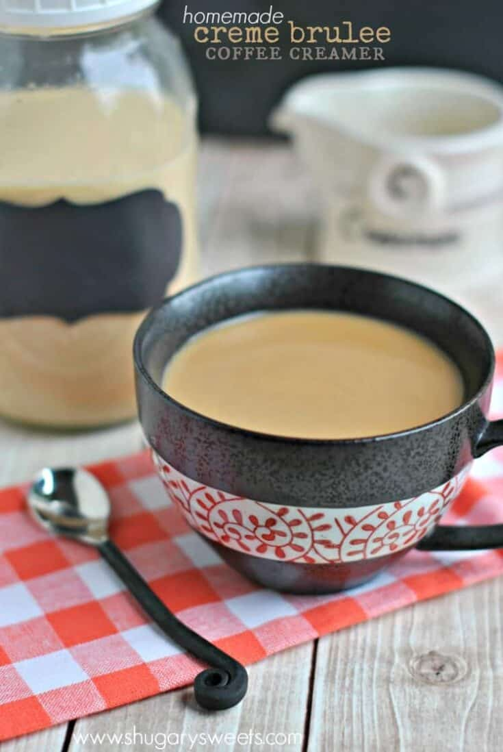 Easy, 4 ingredient recipe for homemade Creme Brulee Coffee Creamer.