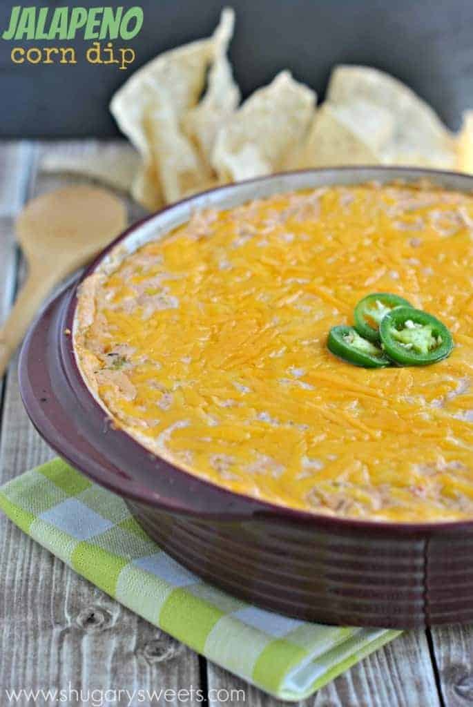Hot Jalapeno Corn Dip: serve this warm dip recipe for game day or movie night! Cheesy and delicious!