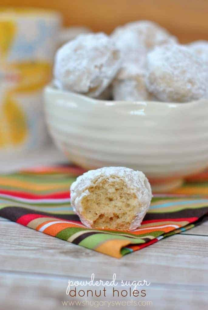 Powdered Sugar Donut Holes: baked, not fried, and super delicious. Easy enough for weekday breakfast!