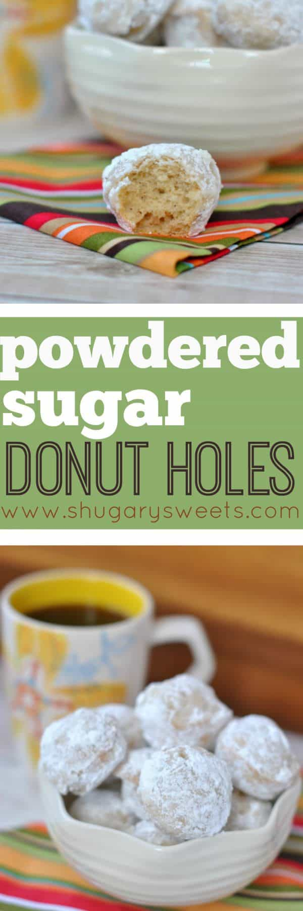 Love donuts for breakfast but hate all the work? These Powdered Sugar Donut Holes are baked (not fried) and ready in under 30 minutes.