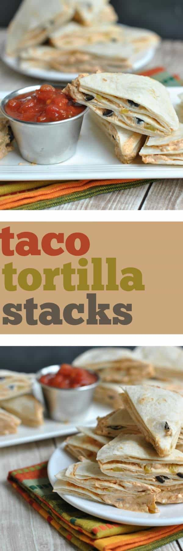 These Taco Tortilla Stacks have been made in our family for years! They are so easy to assemble ahead of time, and serve as a quick snack for a crowd. We enjoy ours served with salsa!