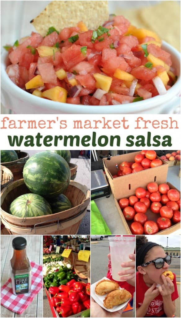 Watermelon Peach Salsa: enjoy the fresh sweet fruit in this salsa with a kick! A winning combo!