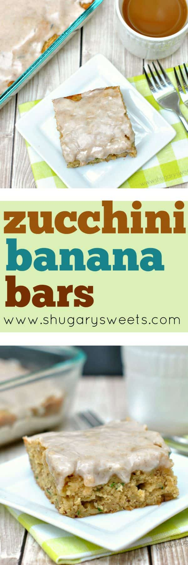 Grab some fresh zucchini from your garden, the farmstand or your grocery store! These Zucchini Banana Bars are begging to be made. And don't forget to top them with the creamy cinnamon glaze!