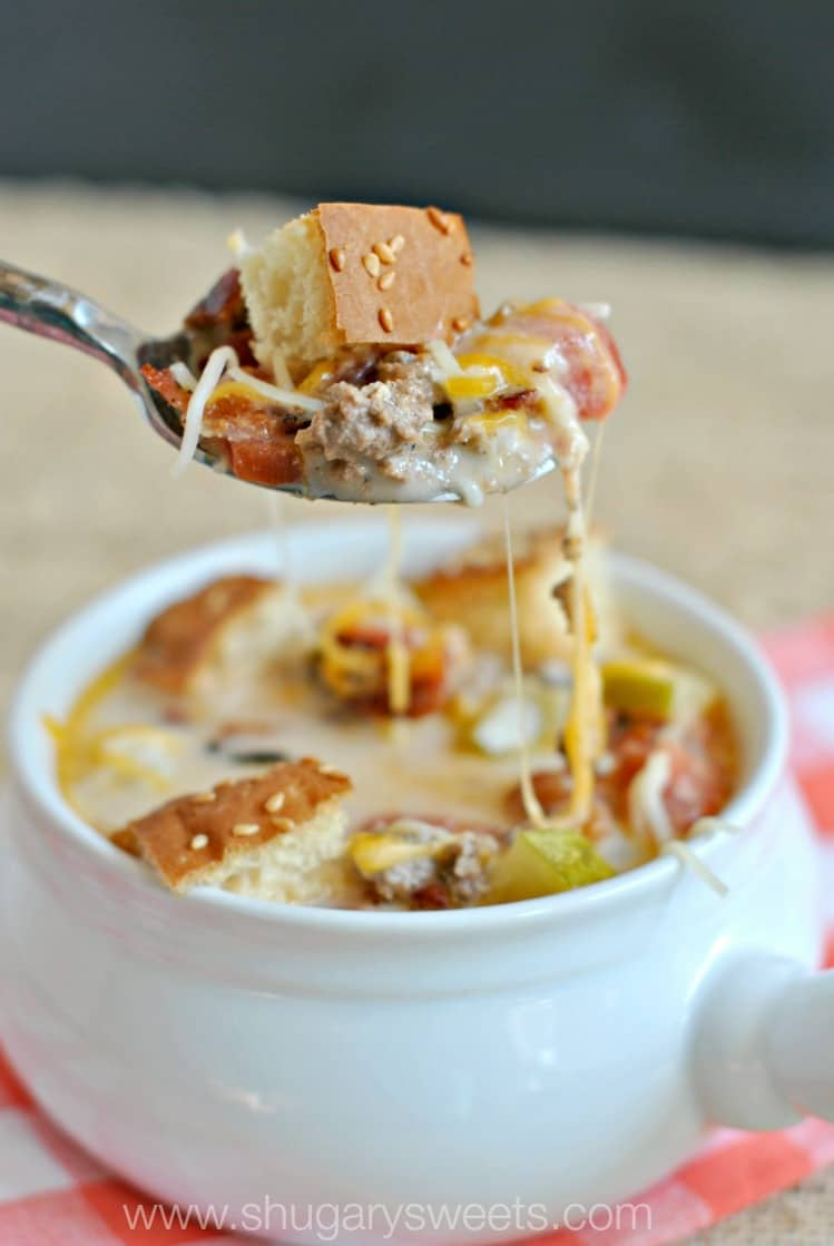 Spoonful of cheeseburger soup.