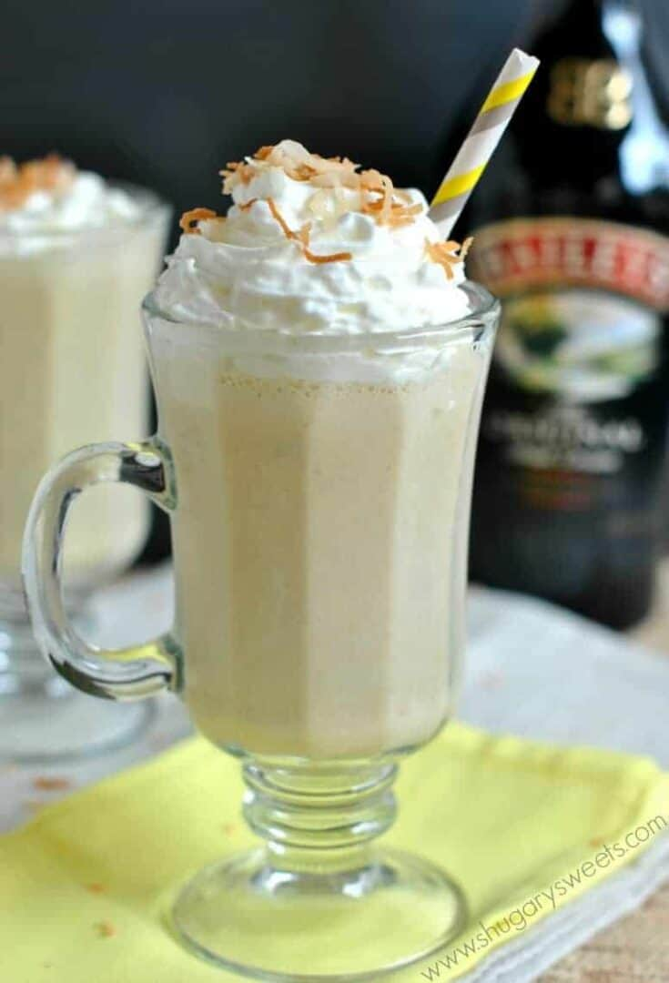 Creamy, Banana Baileys Coconut drink (aka BBC) is perfect any time of year! Cheers!