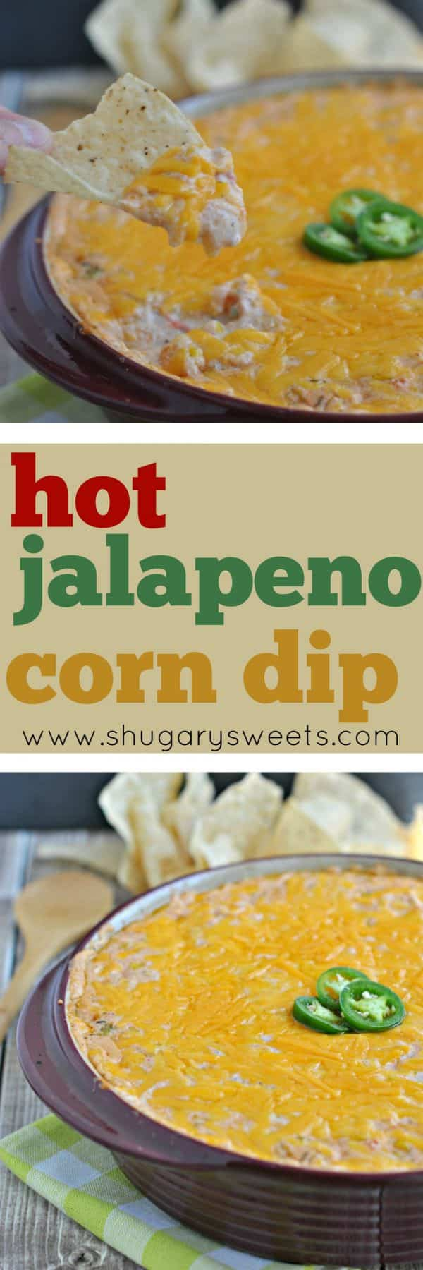 This delicious snack is perfect for your weekend potluck, game day tailgating party, or movie night. Hot Jalapeno Corn Dip is easy to make, and you won't be able to stop dipping!