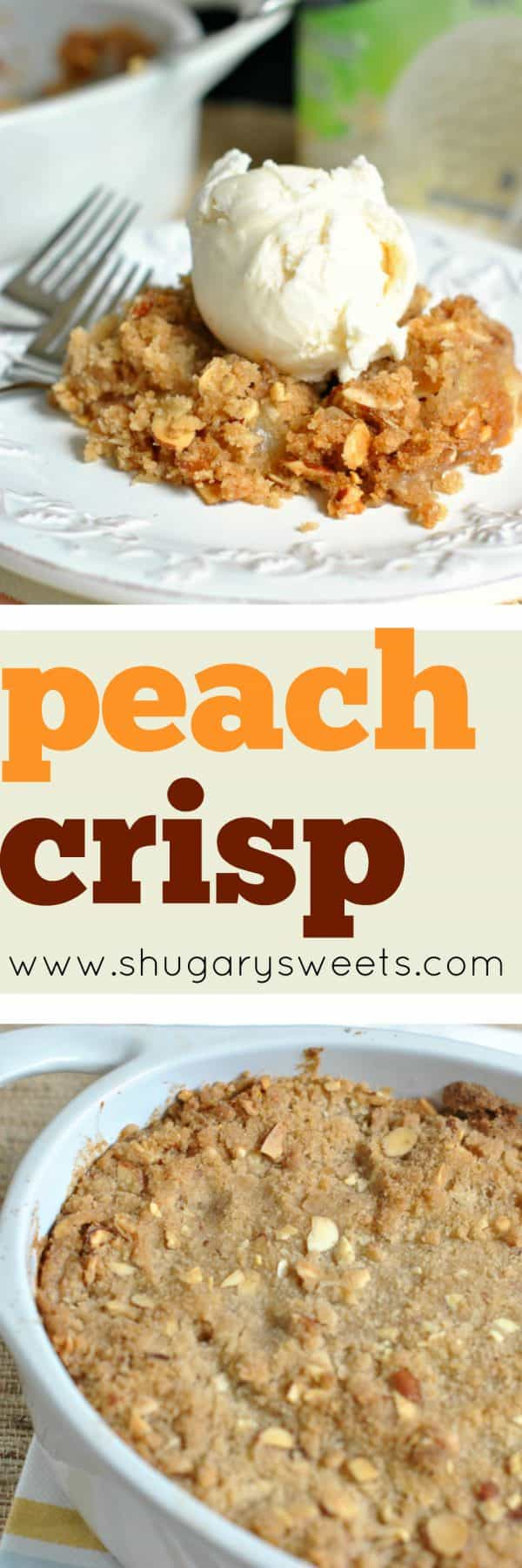 Delicious homemade Peach Crisp topped with Breyers Gluten Free Vanilla. Fresh sweet peaches with the crumbly topping make this mouthwatering dish perfect. The ice cream melting on the warm crisp only adds to that perfection!