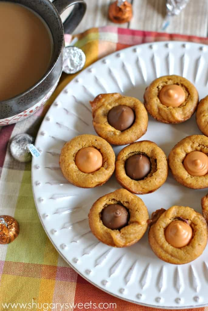 Pumpkin Blossoms: a fall treat based off your favorite pb blossom cookie. Add a hershey kiss in any flavor!