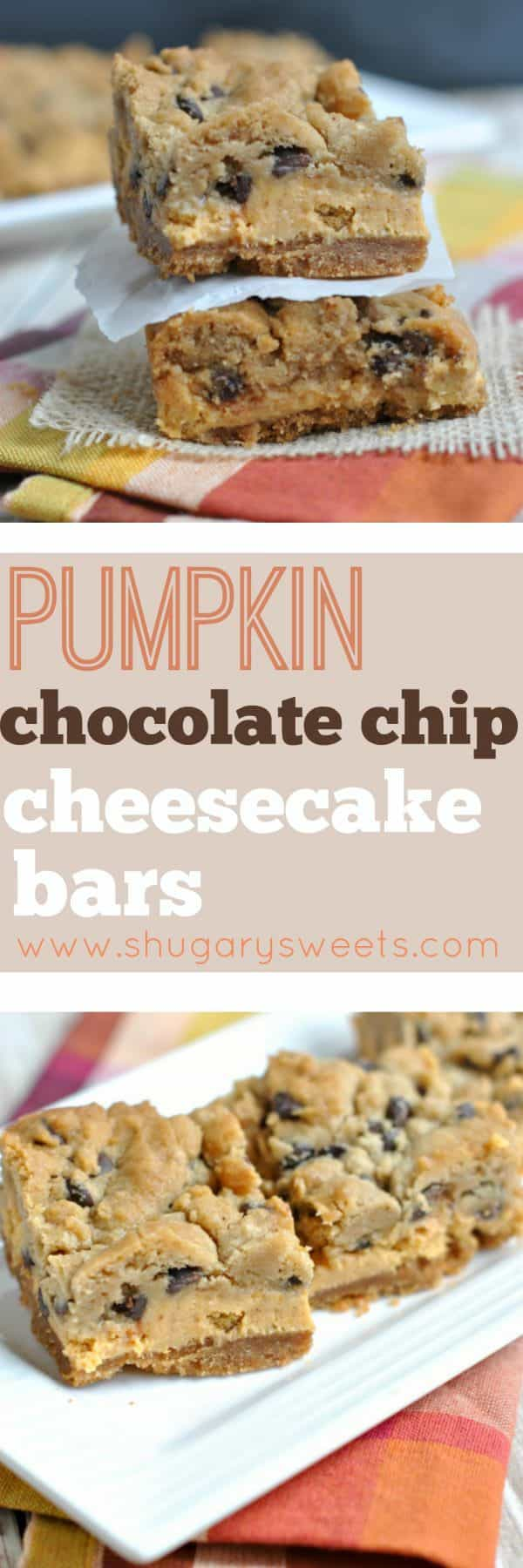 The most delicious layered cookie bars you'll eat this year! Graham cracker crust topped with a creamy pumpkin cheesecake and chocolate chip cookie dough. Baked to perfection, these Pumpkin Chocolate Chip Cheesecake Bars NEED to be on your dessert table.