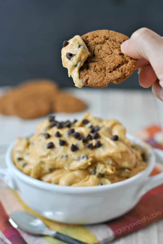 Pumpkin Chocolate Chip Cookie Dough Dip, one bite and you'll understand why it's such a popular fall treat!