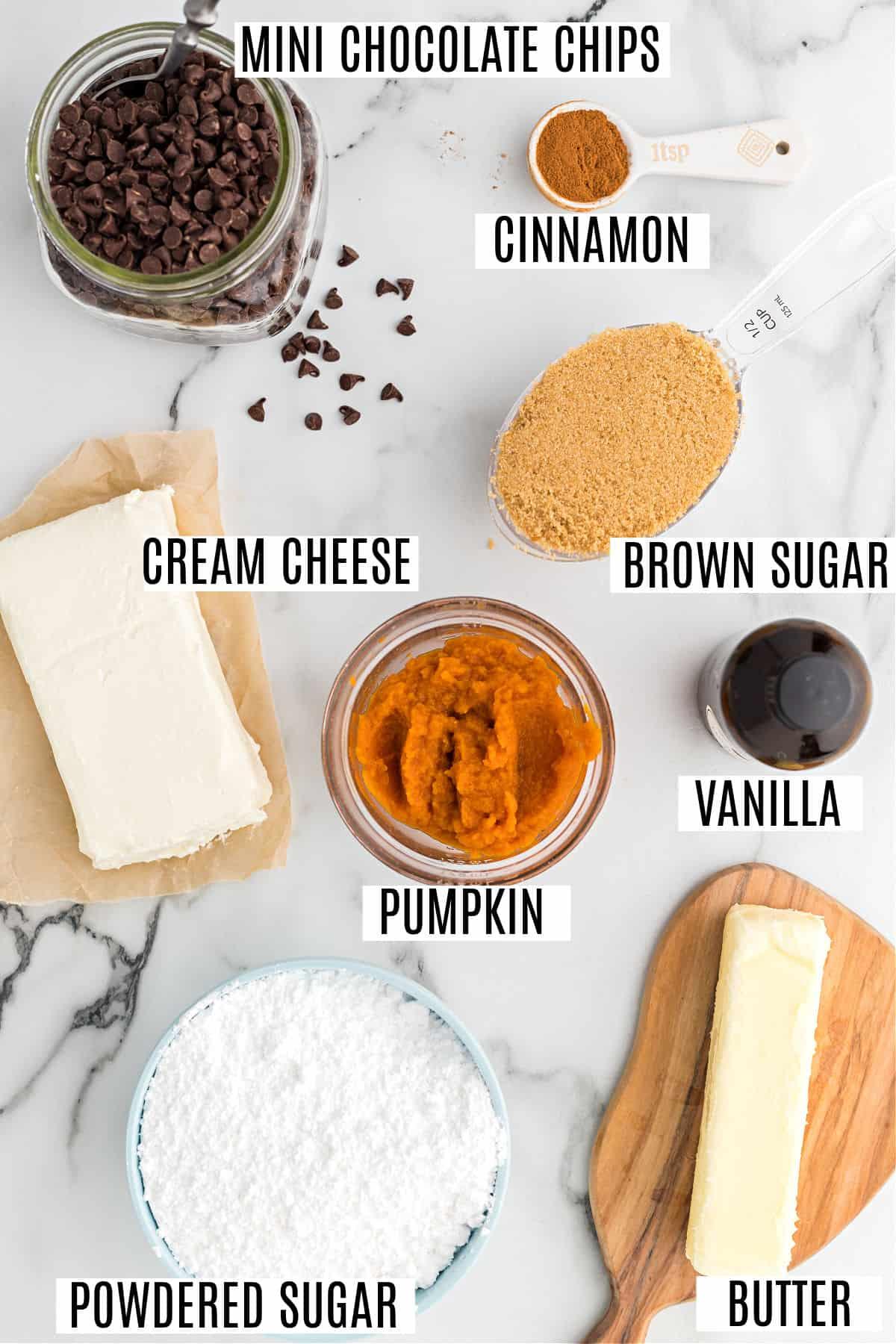 Ingredients needed for pumpkin chocolate chip cookie dough dip.