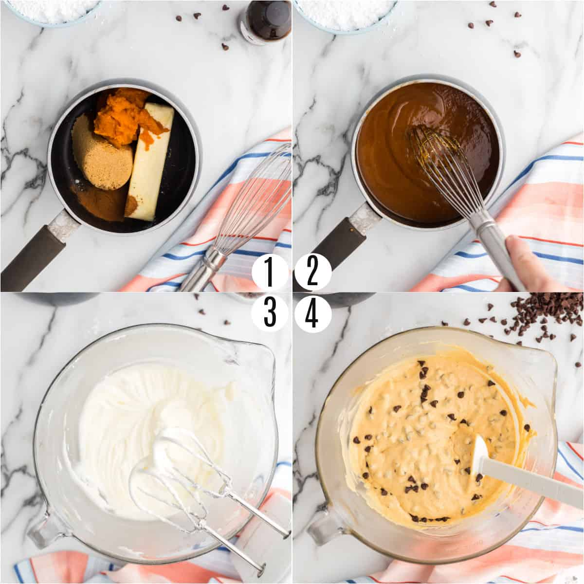 Step by step photos showing how to make pumpkin cookie dough dip.