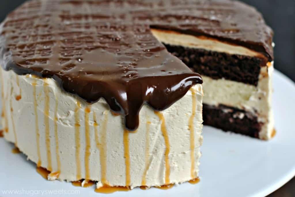 Salted Caramel Cheesecake Cake. Chocolate Ganache. Caramel Sauce.