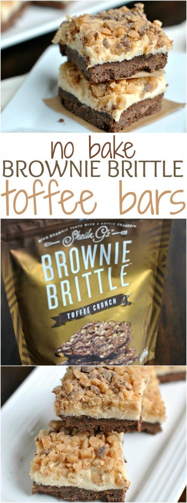 No Bake Brownie Brittle Toffee Bars: you're just a few ingredients away from these delicious layered bars!