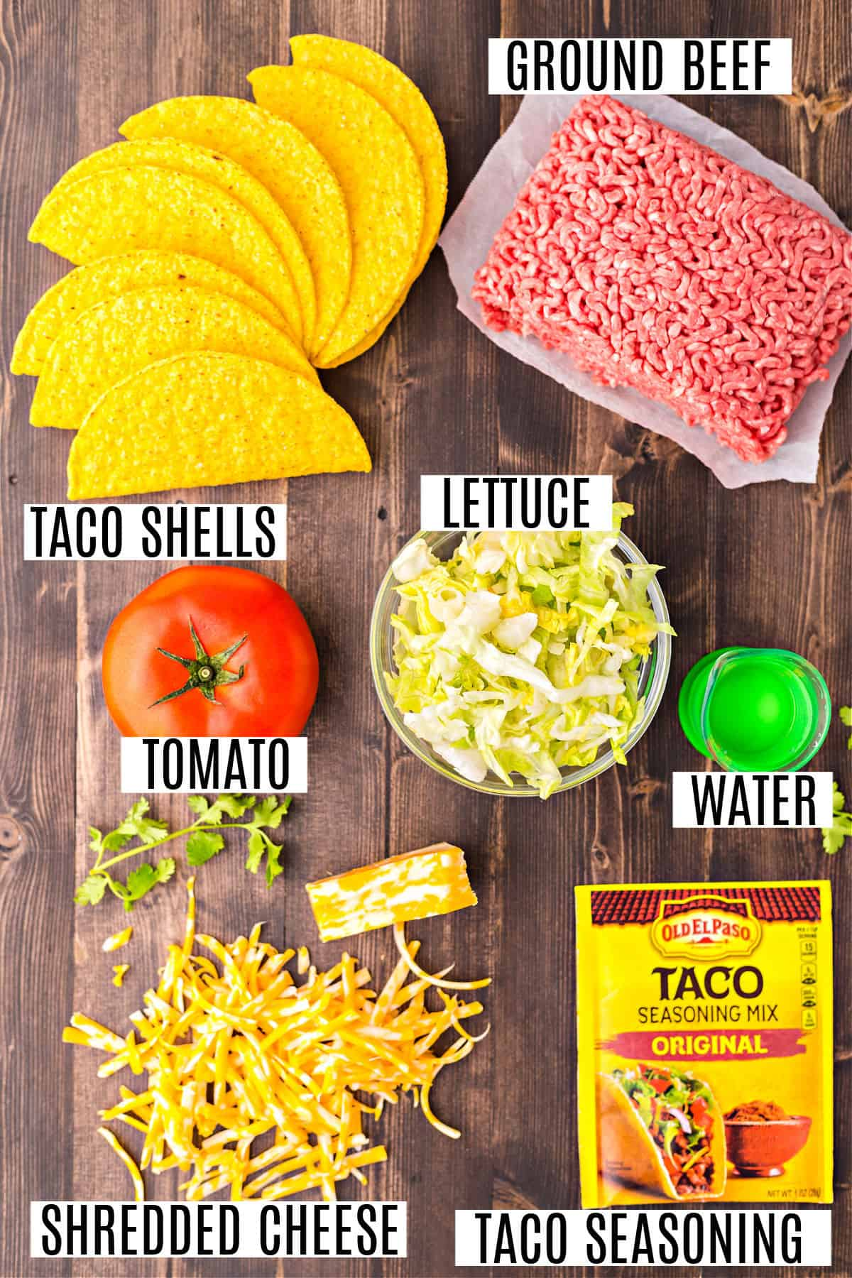 Ingredients needed for baked taco recipe.